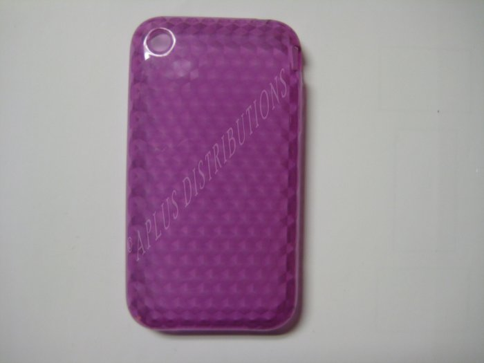 New Purple Diamond Cut Pattern TPU Cover For iPhone 3G 3GS - (0014)