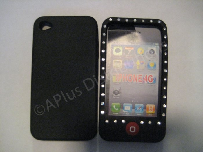 New Black Diamond Outlined Design Silicone Cover For iPhone 4 - (0149)