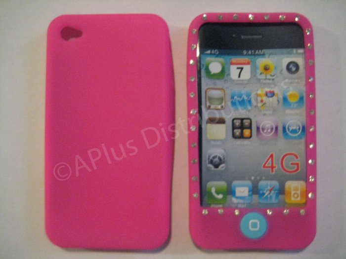 New Hot Pink Diamond Outlined Design Silicone Cover For iPhone 4 - (0147)