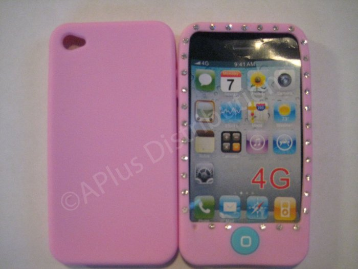 New Pink Diamond Outlined Design Silicone Cover For iPhone 4 - (0148)