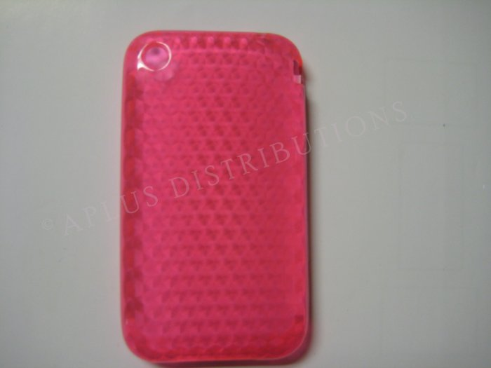 New Hot Pink Diamond Cut Pattern TPU Cover For iPhone 3G 3GS - (0017)