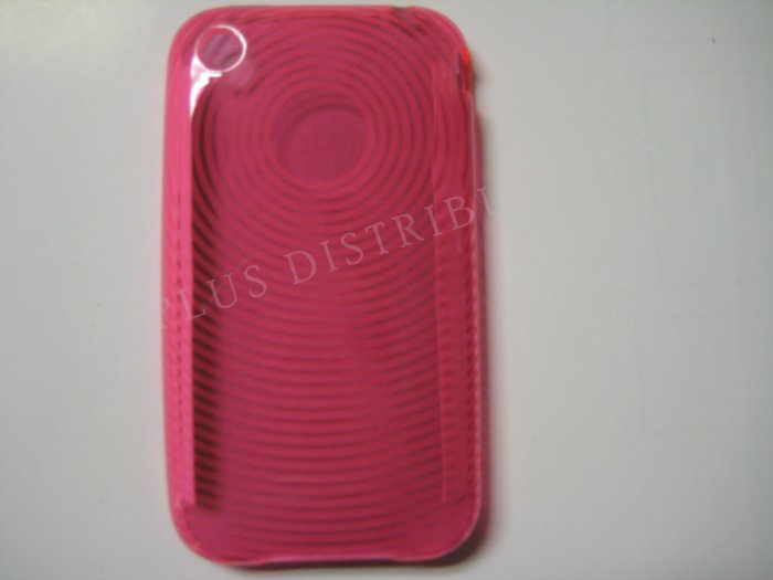 New Pink Transparent Thumb Print Design TPU Cover For iPhone 3G 3GS - (0021)