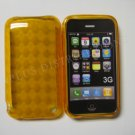 New Orange Transparent Plaid Print Design TPU Cover For iPhone 3G 3GS - (0025)