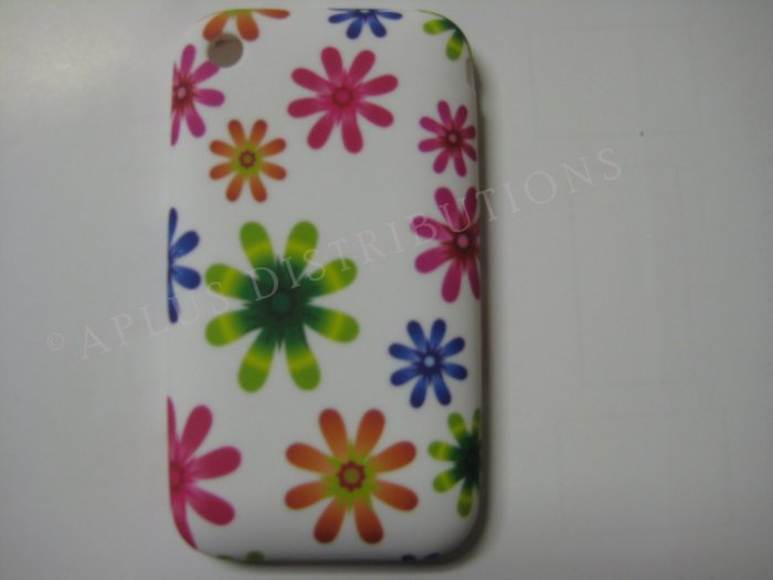 New Multi-Color Flower Power Design TPU Cover For iPhone 3G 3GS - (0026)
