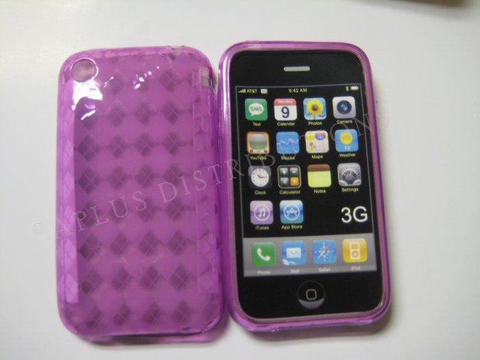 New Purple Transparent Plaid Print Design TPU Cover For iPhone 3G 3GS - (0024)