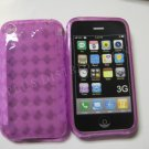 New Purple Transparent Plaid Print Design TPU Cover For iPhone 3G 3GS - (0024)
