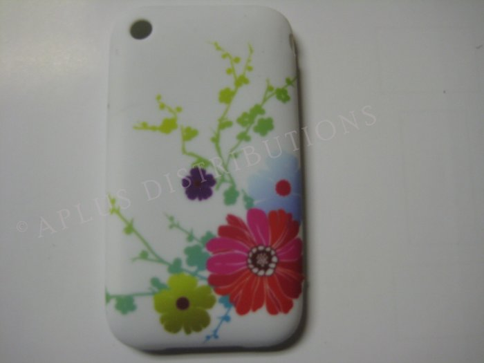 New White Multi Daises Design TPU Cover For iPhone 3G 3GS - (0028)