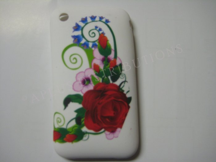 New Red Rose Bud Design TPU Cover For iPhone 3G 3GS - (0029)