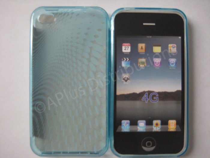 New Light Blue Transparent Roundlets Design TPU Cover For iPhone 4 - (0084)