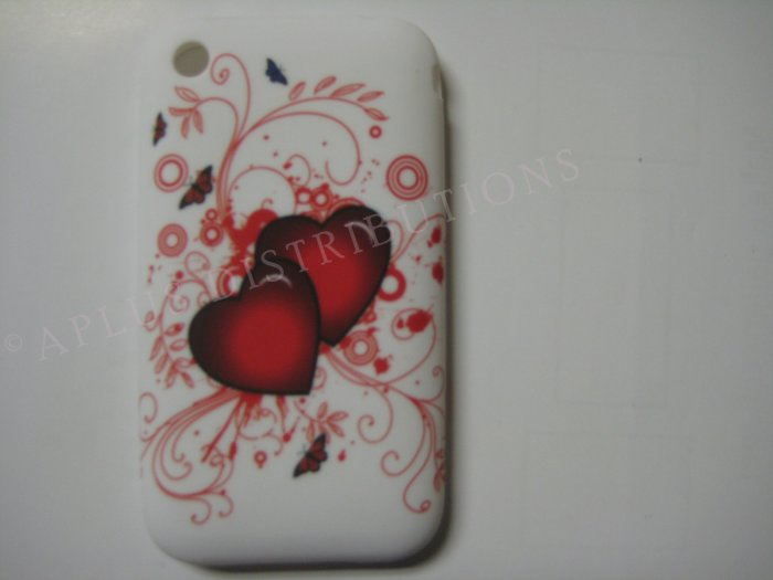 New Red Double Heart Series Design TPU Cover For iPhone 3G 3GS - (0030)