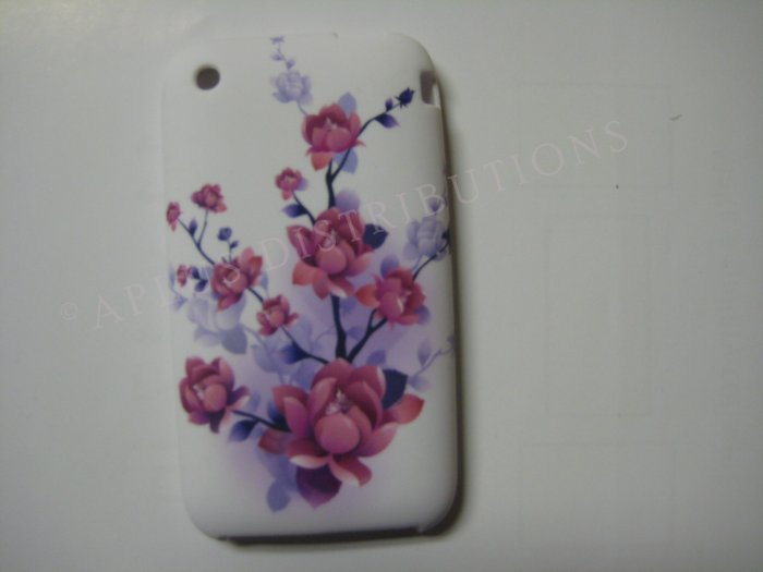 New Purple Big Cherry Blossom Design TPU Cover For iPhone 3G 3GS - (0031)