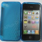New Dark Blue Transparent Roundlets Design TPU Cover For iPhone 4 - (0088)