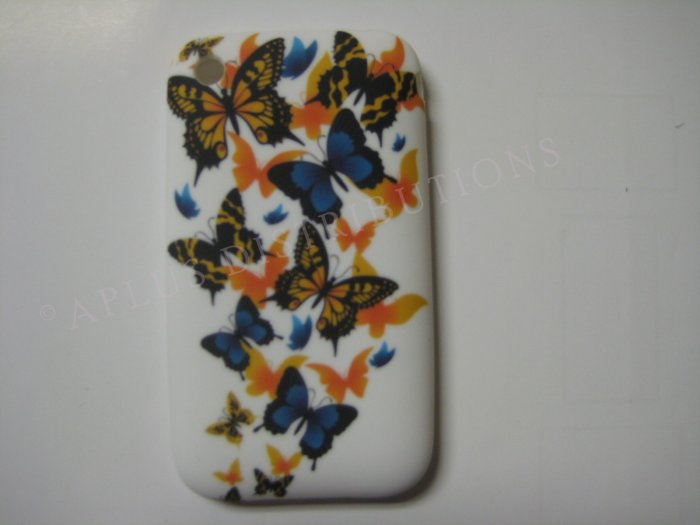 New Orange Butterfly Scattering Design TPU Cover For iPhone 3G 3GS - (0032)