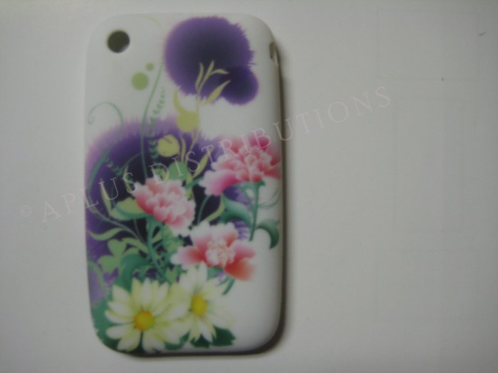 New Purple Daisies/Carnation Flower Design TPU Cover For iPhone 3G 3GS - (0033)