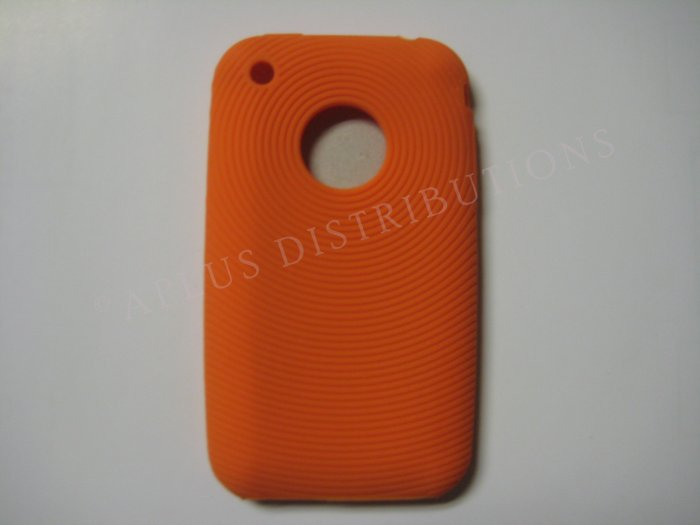 New Orange Thumb Print Pattern Silicone Cover For iPhone 3G 3GS - (0002)