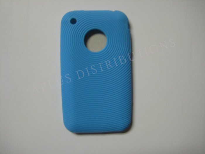 New Light Blue Thumb Print Pattern Silicone Cover For iPhone 3G 3GS - (0003)