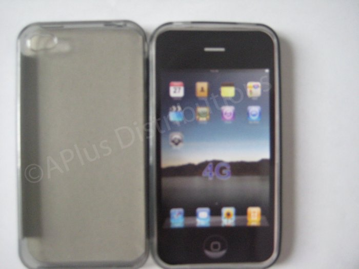 New Smoke Transparent Solid Color Design TPU Cover For iPhone 4 - (0072)