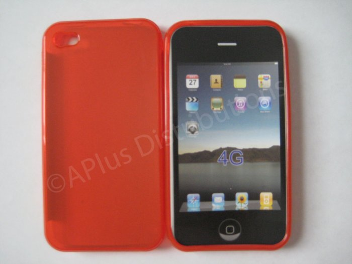 New Red Transparent Solid Color Design TPU Cover For iPhone 4 - (0069)