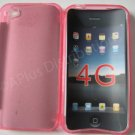 New Hotpink Transparent Solid Color Design TPU Cover For iPhone 4 - (0070)