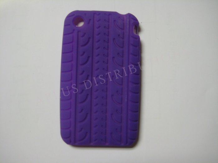 New Purple Tire Print Pattern Silicone Cover For iPhone 3G 3GS - (0007)