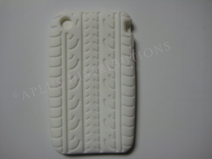 New White Tire Print Pattern Silicone Cover For iPhone 3G 3GS - (0008)