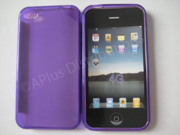 New Purple Transparent Solid Color Design TPU Cover For iPhone 4 - (0071)