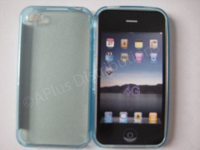 NEW Transparent Solid Color TPU Soft Case For Apple iPhone 4G- Light Blue