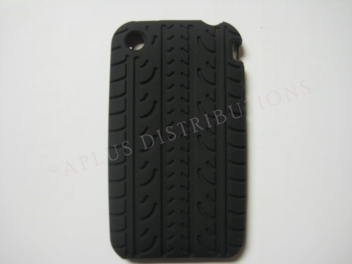 New Black Tire Print Pattern Silicone Cover For iPhone 3G 3GS - (0009)