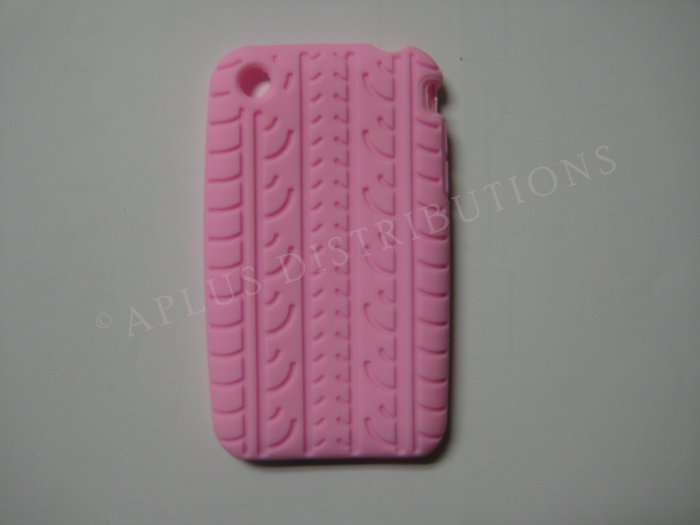 New Pink Tire Print Pattern Silicone Cover For iPhone 3G 3GS - (0011)
