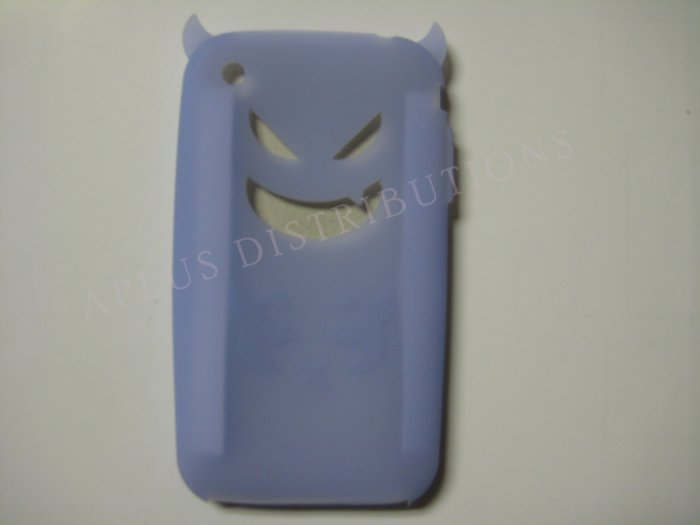 New Light Blue Devil Design Silicone Cover For iPhone 3G 3GS - (0020)