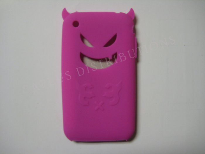 New Hot Pink Devil Design Silicone Cover For iPhone 3G 3GS - (0021)