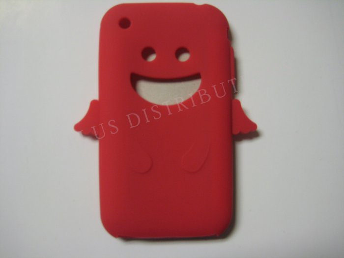 New Red Angel Design Silicone Cover For iPhone 3G 3GS - (0025)