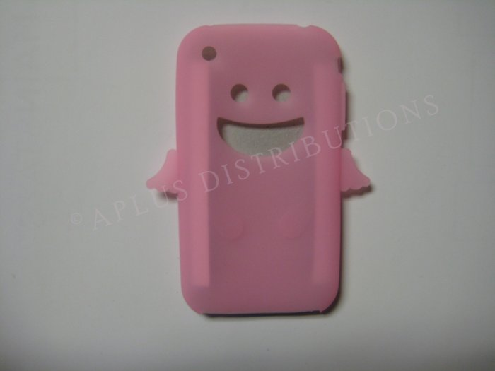 New Light Pink Angel Design Silicone Cover For iPhone 3G 3GS - (0026)