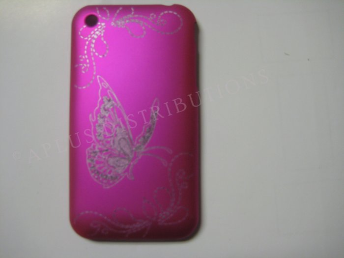 New Hot Pink Butterfly Design Hard Protective Cover For iPhone 3G 3GS - (0001)