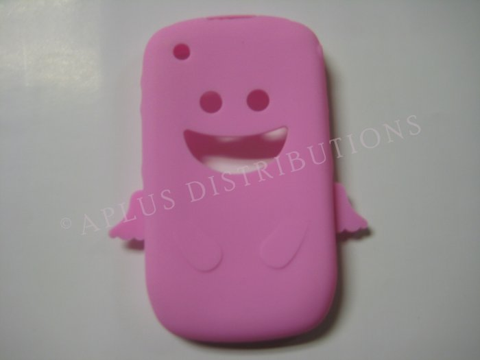 New Light Pink Angel Design Silicone Cover For Blackberry 8520 - (0026)