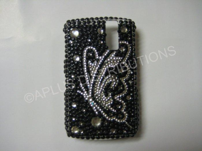 New Black Butterfly Series Sideview Bling Diamond Case For Blackberry 8300 - (0024)