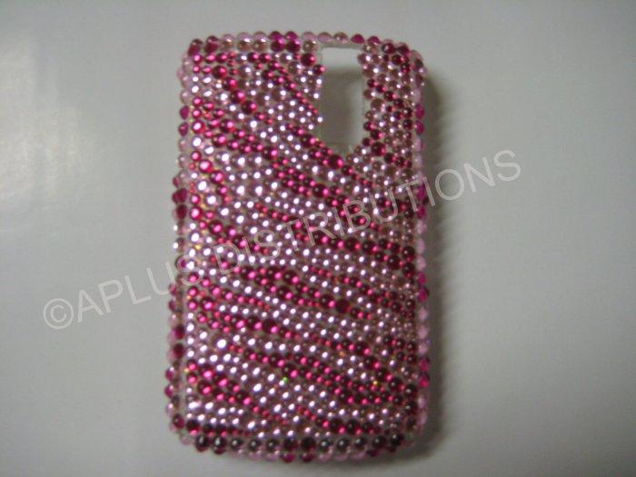 New Hot Pink Zebra Design Bling Diamond Case For Blackberry 8300 - (0027)