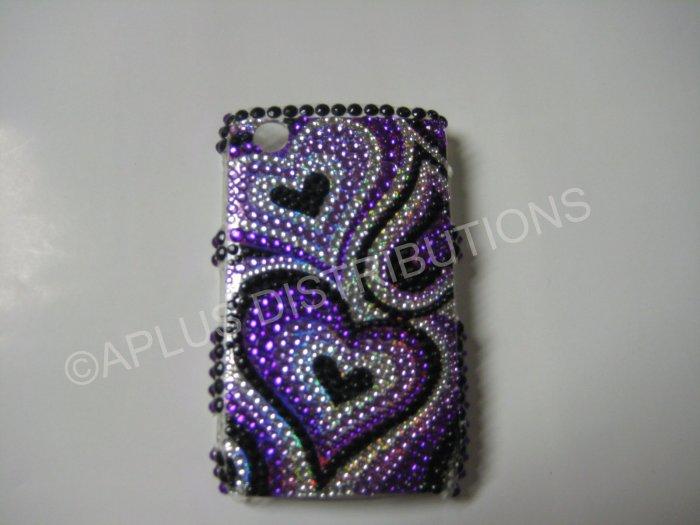 New Purple Heart Series Bling Diamond Case For Blackberry 8520 - (0017)