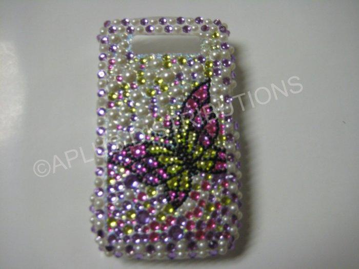 New Pink Open Butterfly W/Pearls Bling Diamond Case For Blackberry 8900 - (0055)