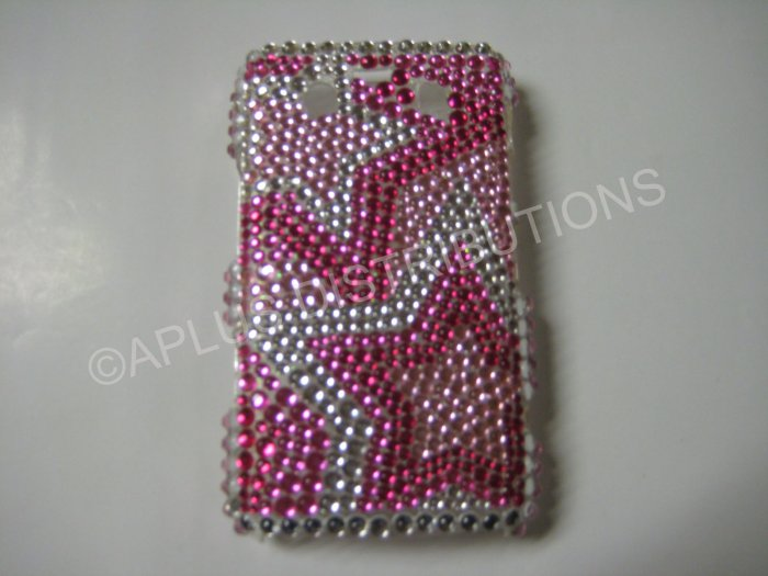 New Hot Pink Multi-Stars Bling Diamond Case For Blackberry 9700 - (0090)