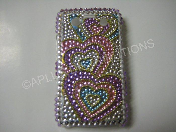 New Pink Triple Heart Series  Bling Diamond Case For Blackberry 9700 - (0089)