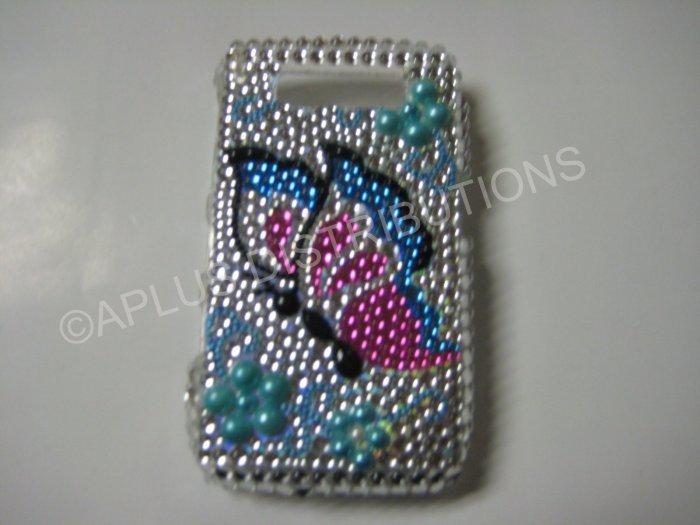 New Turquoise Butterfly Design Crystal Bling Diamond Case For Blackberry 8900 - (0062)