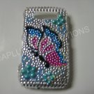 New Turquoise Butterfly Design Crystal Bling Diamond Case For Blackberry 8900 - (0062)
