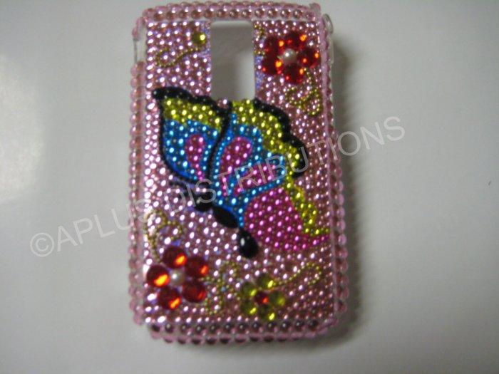 New Pink Butterfly Side W/Ruby Flower Bling Diamond Case For Blackberry 9000 - (0051)