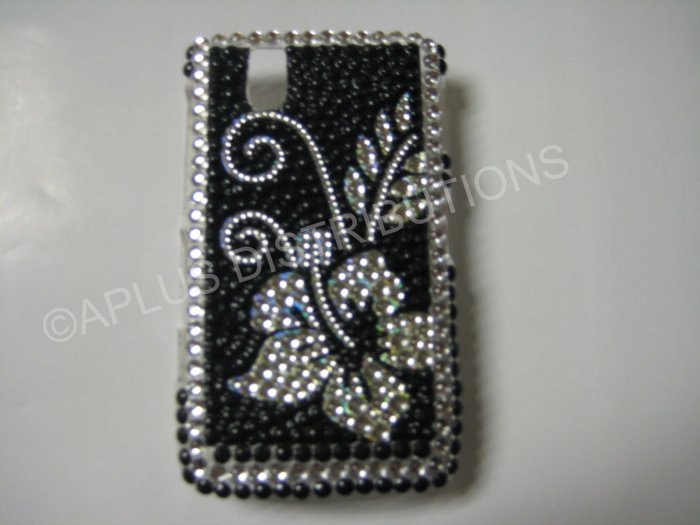 New Black Hawaiian Hibiscus Bling Diamond Case For Blackberry 9630 - (0071)