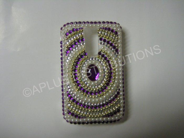 New Purple Diamond In Circle/Pearls Bling Diamond Case For Blackberry 9000 - (0067)