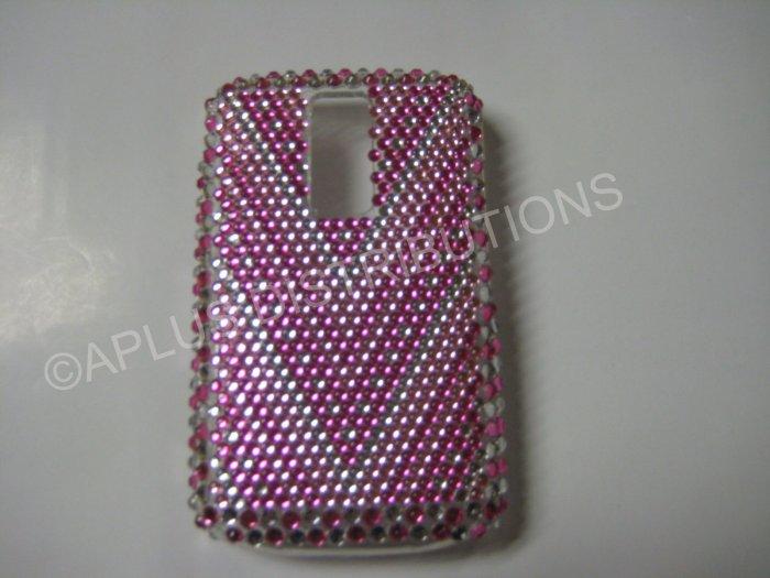 """New Pink """"V"""" Pattern Crystal Bling Diamond Case For Blackberry 9000 - (0070)"""