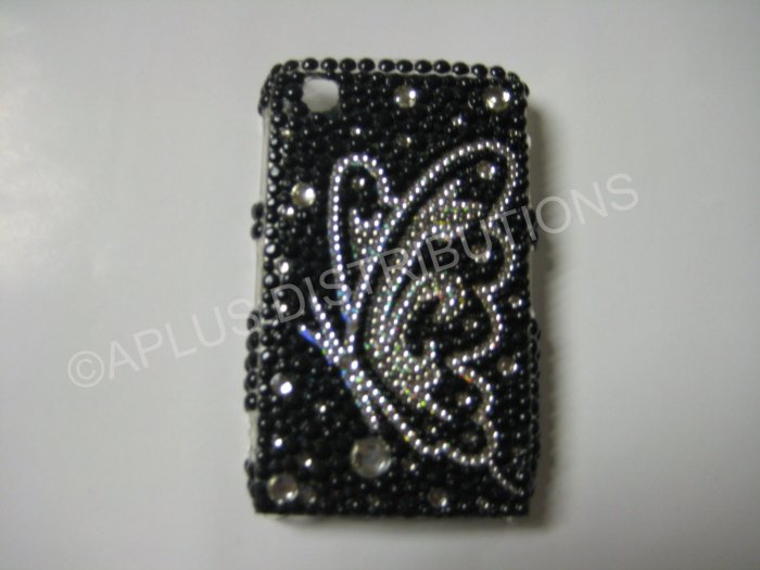 New Black Butterfly Series Sideview Bling Diamond Case For Blackberry 8520 - (0024)