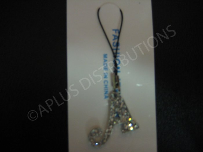 NEW Crystal Cell Phone Charm-  Big Letter �A� Cursive