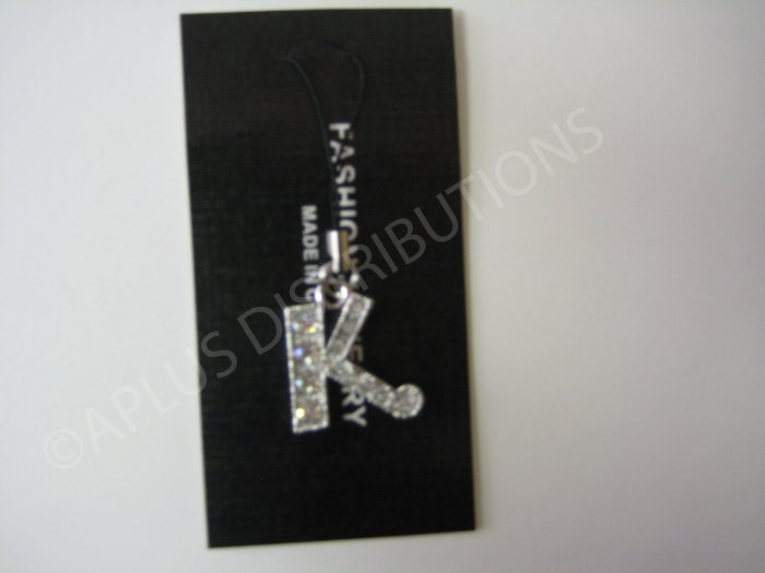 NEW Crystal Cell Phone Charm-  Big Letter �K� Cursive